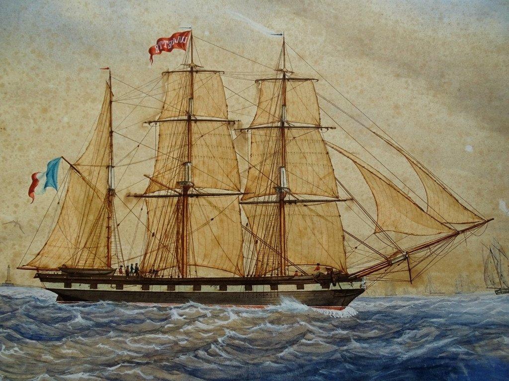 Original Watercolor Dated 1851 - Sailing Boat, Ship