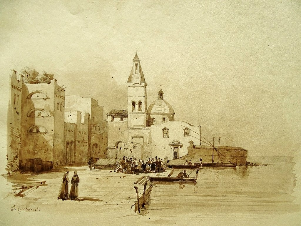 Original Drawing By Jacques Guiaud (1810-1876) Fishing Port In Italy