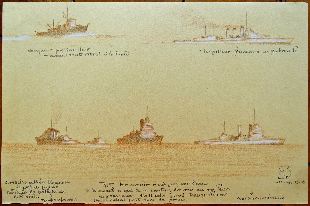 Original Drawing By Admiral Maurice De Brossard - Boats Blocking The Gulf Of Liguria