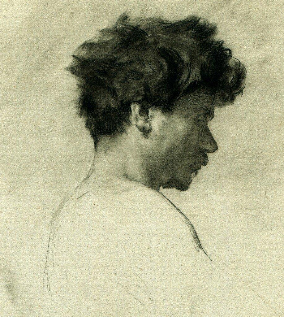 Portrait d'Homme De Profil - Dessin Original Ancien