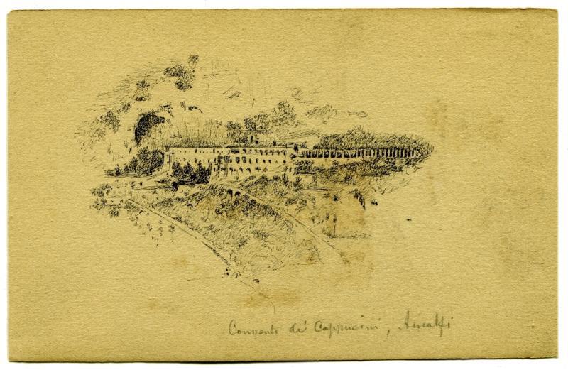 Dessin original - Amalfi - Paysage - Italie - Félix CHARVOLIN (1832-) -photo-2