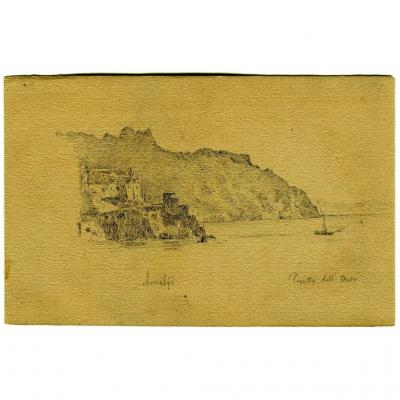Dessin original - Amalfi - Paysage - Italie - Félix CHARVOLIN (1832-)