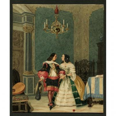 Original Watercolor - Anne Of Austria And The Duke Of Buckingham