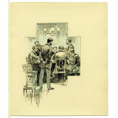The Poker Game - Original Drawing By Victor Armand Poirson (1858-1893)