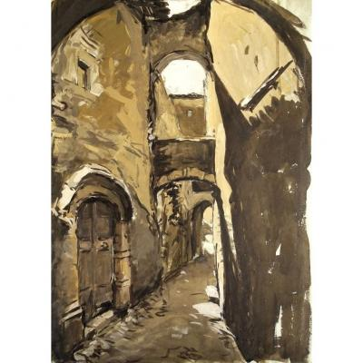 Claude Bils (1884-1968) Large Gouache - Ruelle à Viviers - Old Drawing