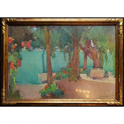 Auguste Drouot (1881-1955) - Lakeside - Original Watercolor