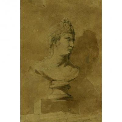 Buste De Femme - Dessin Ancien Au Crayon Et Lavis