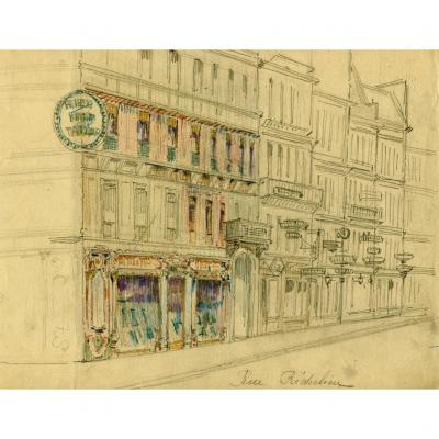 Original Drawing - Paris, Rue Richelieu