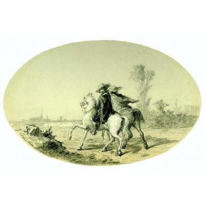 Original Drawing By Jules Cornilliez Cornilliet (1830-1886) Horse Riders