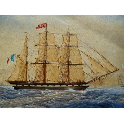 Original Watercolor Dated 1851 - Sailing Boat, Ship