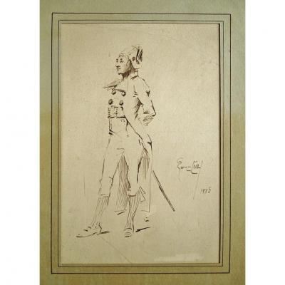 Original Drawing By Georges Jules A. Cain (1856-1919) Elegant Tricorn