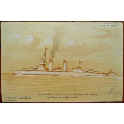 Dessin de l'Amiral Maurice de BROSSARD (1909-1996) Bateau,  Croiseur  , Bataille de la Ligurie