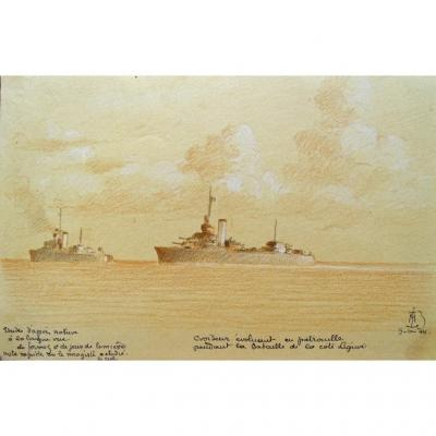 Original Drawing By Admiral Maurice De Brossard (1909-1996) Battle Of Liguria