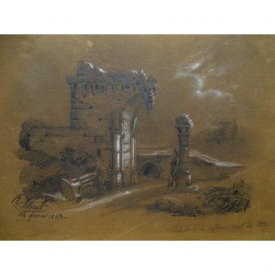 Drawing By Raymond Noël Esbrat (1809-1856) Landscape Of Ruins