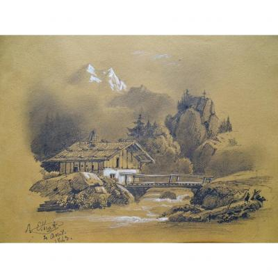 Original Drawing By Raymond Noël Esbrat (1809-1856) Mountain Landscape