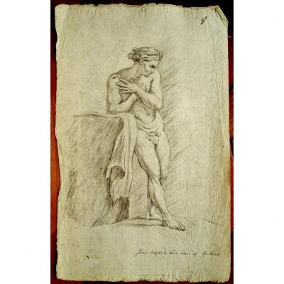 Original Drawing By Jean Baptiste Louis CarrÉ (1749-1835) XVIIIth - Male Nude