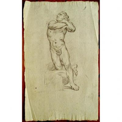 Drawing By Jean Baptiste Louis CarrÉ (1749- 1835) XVIIIth - Male Nude