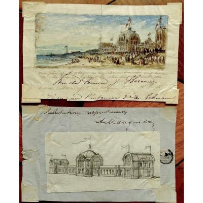 Adolphe MAUGENDRE (1809-1895) Dieppe la plage et l'ancien casino - 2 Dessins  et correspondance