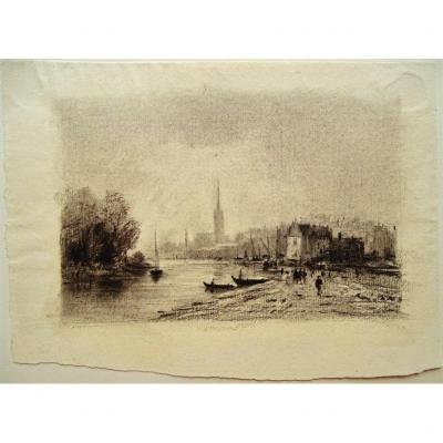 Bord de Seine au temps des impressionnistes - Dessin original