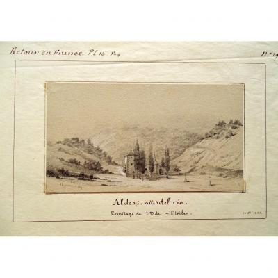 Aldea Del Rio - Daté 1823 - Paysage   - Dessin Original Ancien