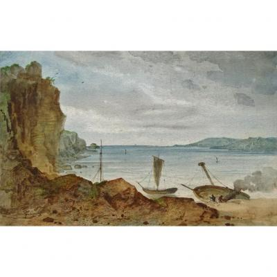 F. TALINSKI XIXème - Paysage marin , bateau Aquarelle