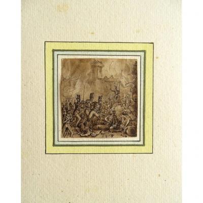 Dessin original de Victor ADAM (1801-1866) Siège de Saint Jean d'Acre - Histoire de France