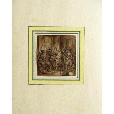 Dessin Original De Victor Adam (1801-1866) l'Assassinat Du Duc De Guise - Histoire De France