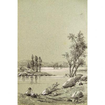 Dessin Original De Jeanne Amen (1863-1923) - Paysage Animé