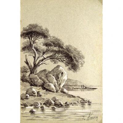 Dessin original de Jeanne AMEN (1863-1923) Paysage méditerranéen animé