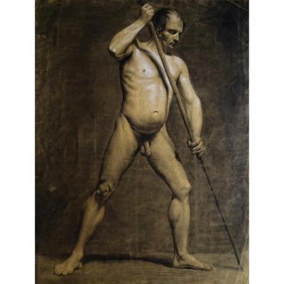 Grand Dessin Original - Nu Masculin - Académie d'Homme