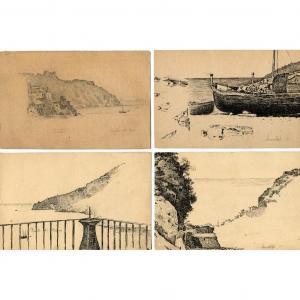 Italie , Amalfi - 4 dessins originaux  de Félix CHARVOLIN (1832-?)