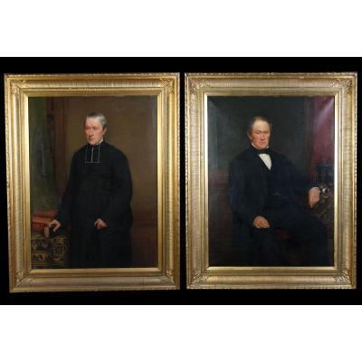 Auguste Delfosse 1832/1899 – Grande Paire De Portraits – Notable Et Homme d'église – Datés 1870