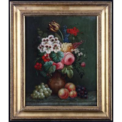 Edwin Steele 1803/1871 - Still Life With Fruits And Flowers - From English School XIX