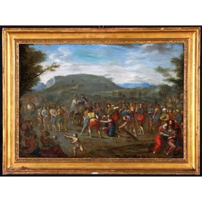 Iacobus Tacchi - Simon De Cyrène Aide Jésus à Porter Sa Croix – Ecole Italienne XVII°