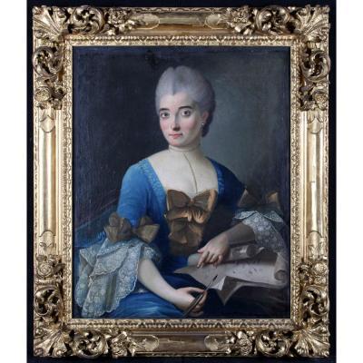 Portrait D'une Dame De Qualité Dessinant – Ecole Française Du XVIII°