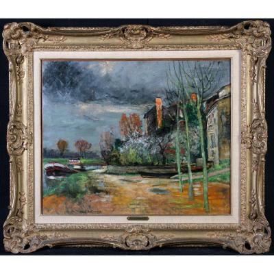 René Bellanger 1895/1964 – Péniche Sur Un Canal – Ecole Française Du XX°