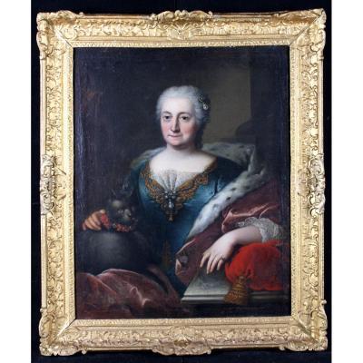 Baziray 1730/1755 - Portrait De Dame De Qualité Et Son Chat - Ecole Française XVIII° Daté 1745