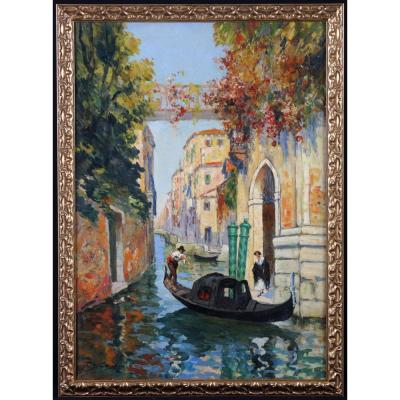 Charles Eugene Cousin XIX°/xx° – Un Canal à Venise - Ecole Française Du XXème
