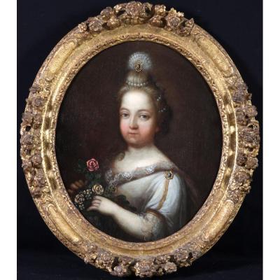 Portrait D'une Fillette Tenant Des Fleurs – Ecole Française Du XVIIIème