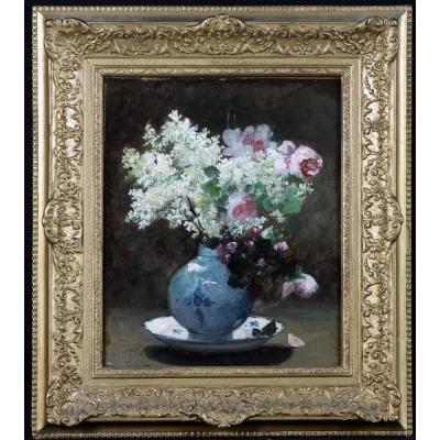 Alfred Rouby 1849/1909 – Bouquet De Fleurs Dans Un Vase – Ecole Française Du XIX°