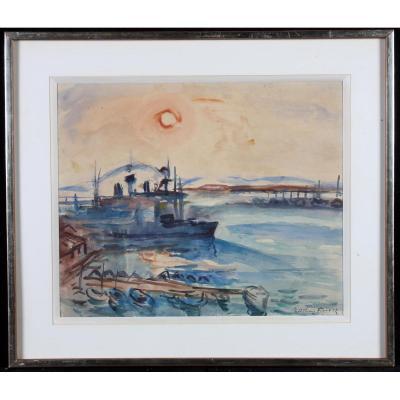 Cargos Au Port De Toulon  - Aquarelle Signée Othon Friesz 1879 / 1949 Et Localisée Toulon.