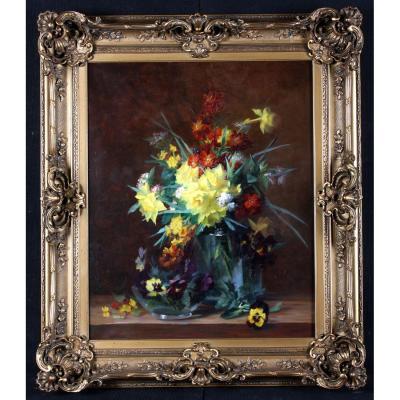 Marie Giron – Bouquet De Fleurs Sur Un Entablement – Ecole Lyonnaise De La Fin Du XIX°
