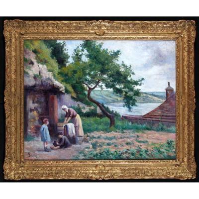 Maximilien Luce 1858/1941 – La Lessive Dans Le Jardin à Rolleboise – Ecole Française Du XX°