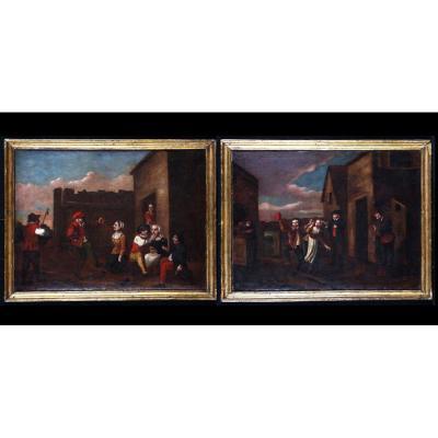 Entourage David Teniers II 1610/1690 - Rejouissances Villageoises- Ecole Flamande XVIIeme
