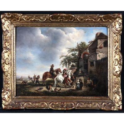 Entourage De Carel Van Falens 1683/1733 – Le Maréchal Ferrant – Ecole Flamande Du XVIIIeme