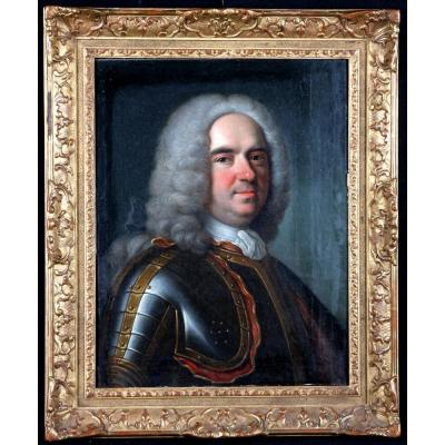 Portrait D'homme En Cuirasse- Ent De Carle Van Loo- Ecole Française 18ème