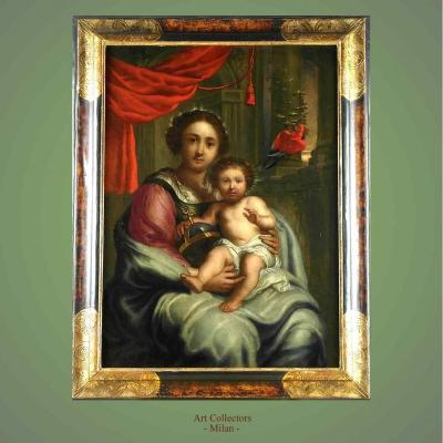 "Tableau ancien par Erasmus Quellinus ""Salvador Mundi"""