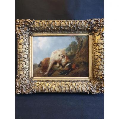 Huile Sur Toile Signe  J.Bateman ( 1814 - 1849 ) Scène Animalière