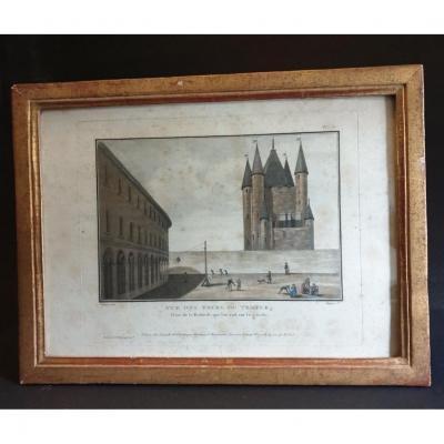 """Gravure  """" Vue des tours du temple """" A Paris chez Esnault  époque fin XVIII éme siècle"""