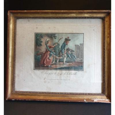 """Gravure """" Départ pour le siège de la Bastille """" A PARIS chez BONNET  époque fin XVIII éme siècle"""